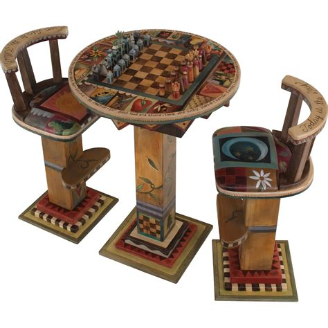chess table with chairs sticks fliptop bar height table with two stools and