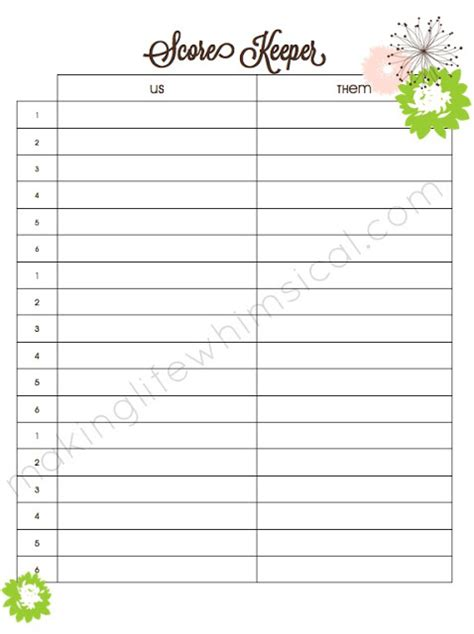 Bunco Score Sheet Template by Bunco Score Sheet Template Pictures To Pin On
