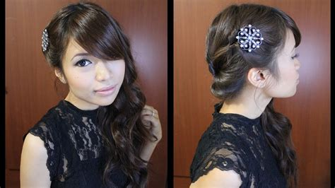 side curly hairstyles youtube looped side swept prom hairstyle for medium long hair