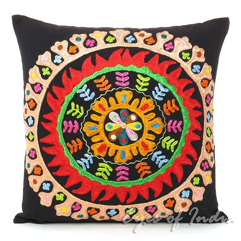 16 black pillow cushion cover embroidered decorative throw
