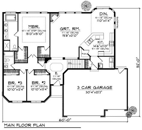 First Floor Plan of Ranch House Plan 99960   Picmia