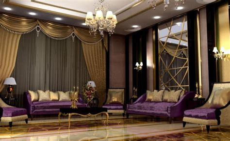 purple and gold room arabian luxury living