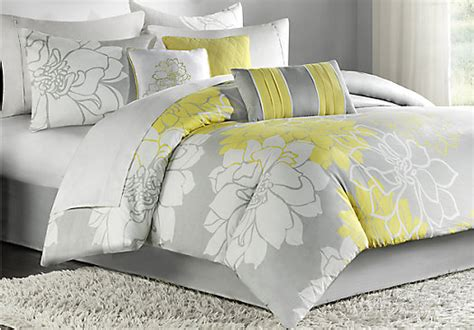 lola gray yellow 7 pc king comforter set king linens gray