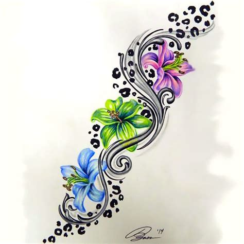 flower and cheetah tattoo design
