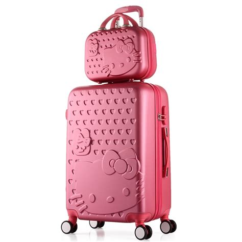 Original Delsey Travelling Bag pink carry on suitcase shell hello luggage 2pcs