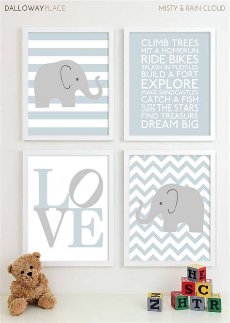 Nursery Decor Etsy Baby Boy Nursery Chevron Elephant Nursery Prints Wall Baby Boys Room Baby Nursery