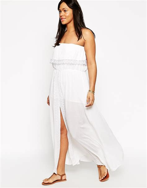 white maxi dress plus size lyst diya plus size maxi dress with elasticated waist in