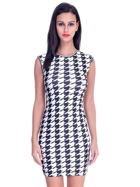 Dress Houndstooth houndstooth print mini vintage dress e22053 cilory