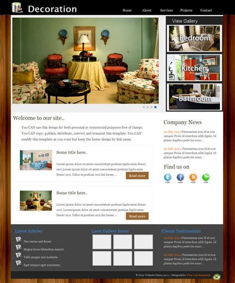 home decoration website free home decoration css website template templates perfect