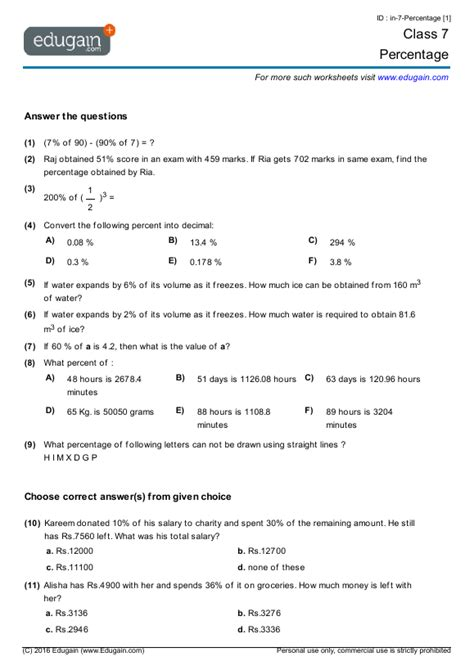 Math Worksheets For Grade 7 by Grade 7 Math Worksheets And Problems Percentage Edugain