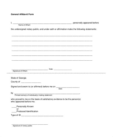 General Affidavit Template sle blank affidavit form 6 documents in pdf