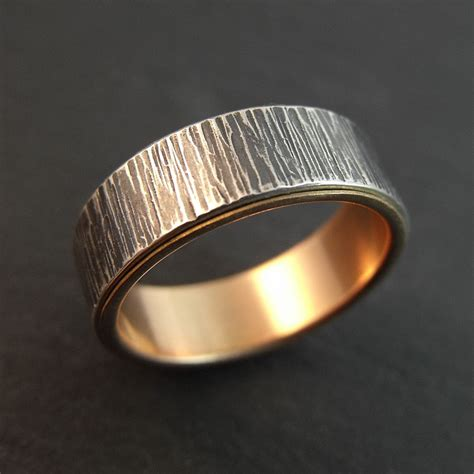 sterling silver and gold wedding band tree bark womens