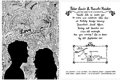doodle hitam putih ingin pesta pernikahanmu berkesan 10 kartu undangan tema