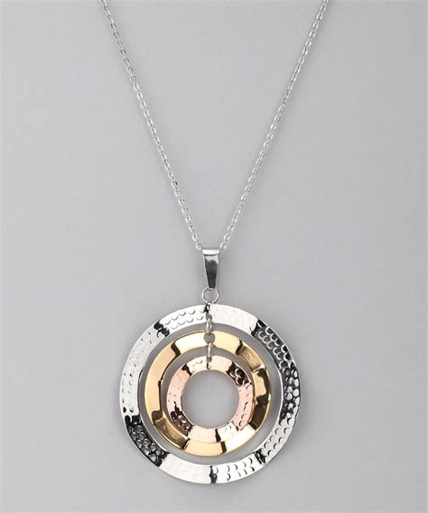gold silver hammered circle pendant necklace