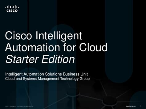 cisco intelligent automation for cloud starter edition