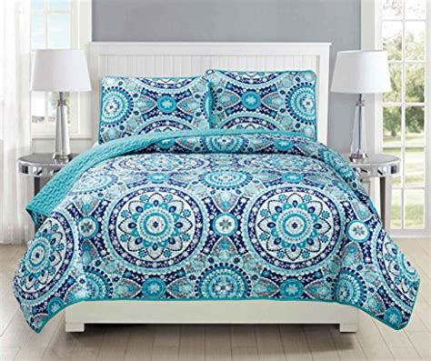 turquoise quilted coverlet mk collection 3pc bedspread coverlet quilted floral