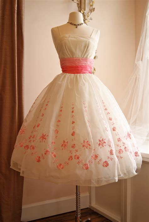 vintage 50s prom dresses prom vintage 1950s prom dress 50s pink and white chiffon