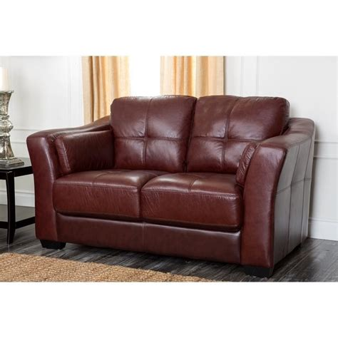 Abbyson Living Florentine Leather Loveseat In Burgundy Ebay