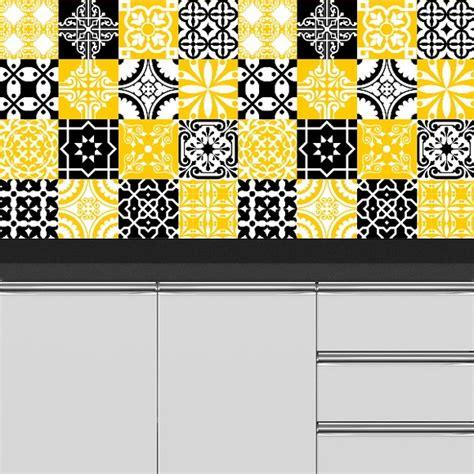 azulejo retro adesivo azulejo retr 244 amarelo e preto no elo7 colou