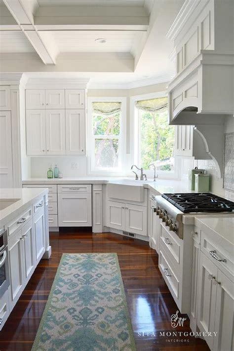 corner apron sink under wraparound windows transitional
