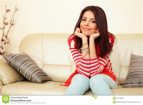teen on couch beautiful woman at home stock photo image 31141820