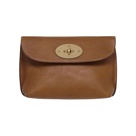 Mulberry Locked Purse by Locked Cosmetic Purse In Oak Leather With Brass