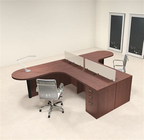Two Person Office Desk Two Person L Shaped Modern Divider Office Workstation Desk Set Ch Amb Sp1 Color4office