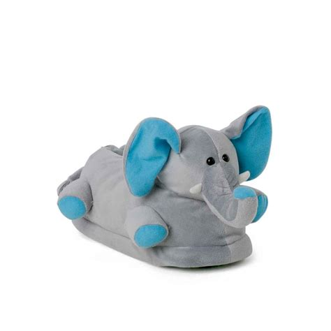 silly slippers plush slippers elephant with blue ears for adults