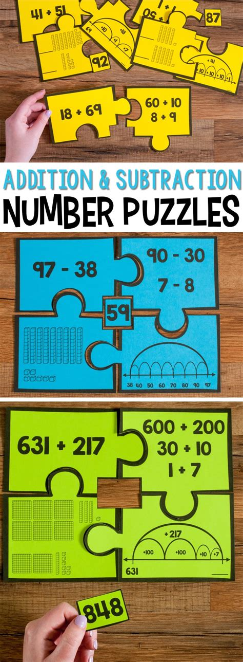 Puzzle Numbers 2 number puzzles for second grade math stations
