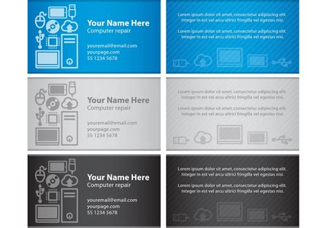 Computer Login Card Template by Computer Visiting Card Vectors Free Vector