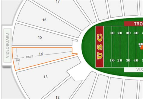 section 14 a los angeles coliseum seating chart with rows