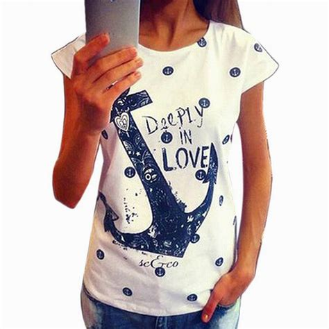T Shirt Anchor Fighters 2015 fashion s summer t shirt letter print anchor slim cotton casual tops t shirts in t