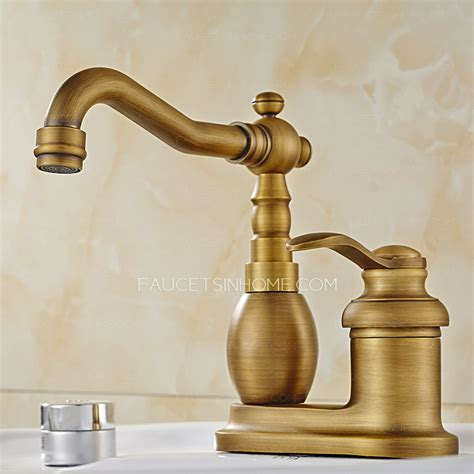 antique brass two hole rotatable bathroom sink faucet