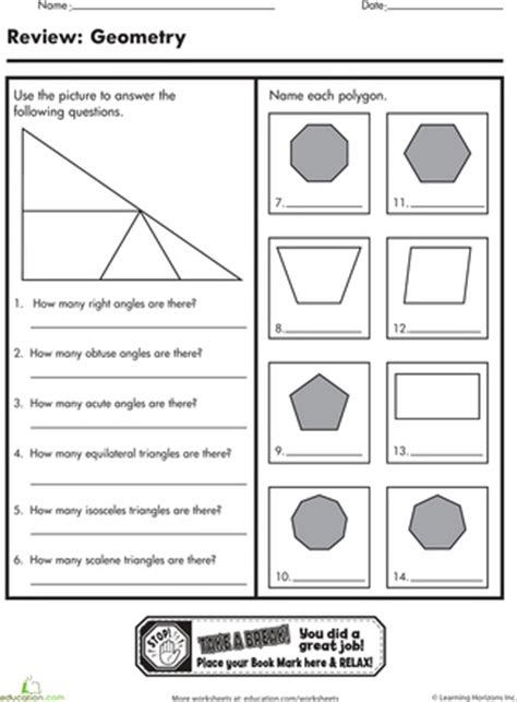 Geometry Review Worksheets by Geometry Worksheets And Angles On