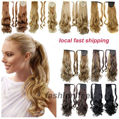 real ponytail hair extensions local shipping real quality clip in ponytail pony