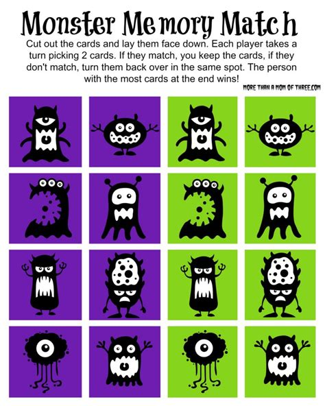 printable cards for memory games free halloween monster memory match game printable more