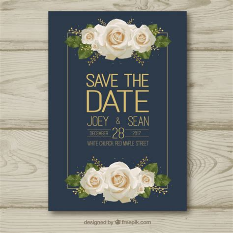 Wedding Card Ai by Wedding Card With White Roses Vector Free