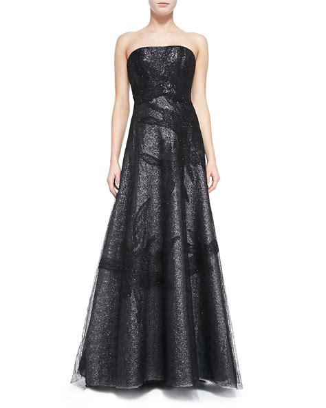 Rene Dress In Black lyst rene ruiz strapless gown with lace overlay skirt in