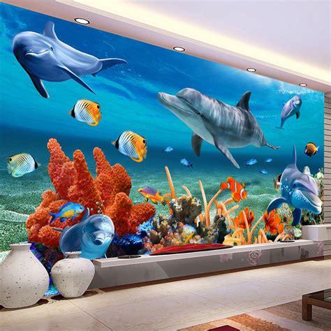 fish wall murals aliexpress buy custom 3d mural wallpaper for underwater dolphin fish wall paper
