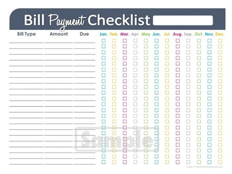 Bill Payment Checklist Printable Editable By Freshandorganized Free Bill Payment Checklist Template