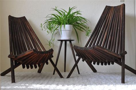folding armchair low back antique sahara mid century his hers low slatted stick folding wood
