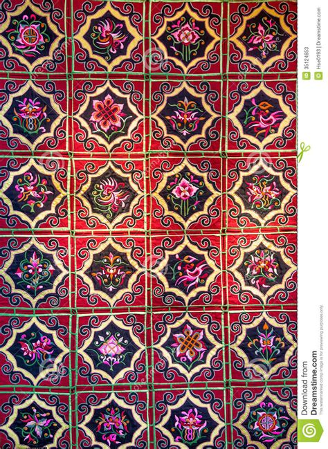 chinese pattern fabric vector zhuang brocade chinese fabric with flower patterns stock