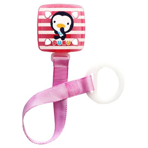 Puku Pacifier Chain 11114 New Model Square Stripe puku baby soother pacifier chain clip pink p11114 feeding