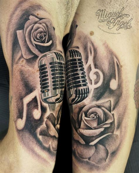 tattoo london angel vintage microphone music notes and roses custom tattoo