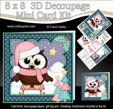 3d Decoupage Picture Kits - 8x8 sledging hoot owl 3d decoupage cup575347