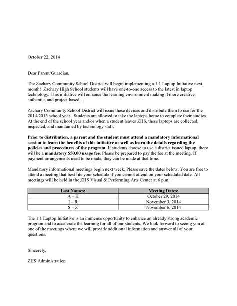Jrotc Parent Letter Mandatory 1 1 Laptop Meeting For Seniors