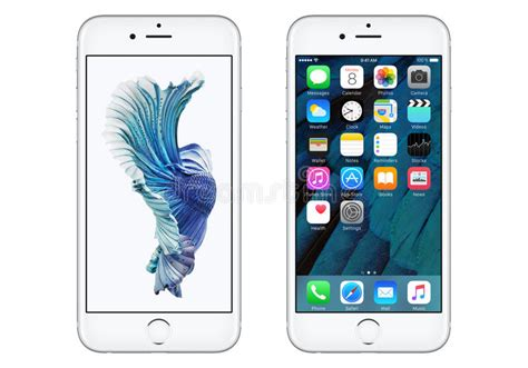 white apple iphone 6s with ios 9 and dynamic wallpaper editorial photo image of apple design