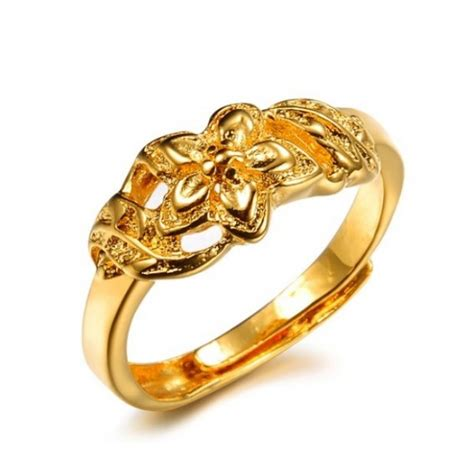 pattern for gold rings high quality female flower pattern 18k gold plated ring