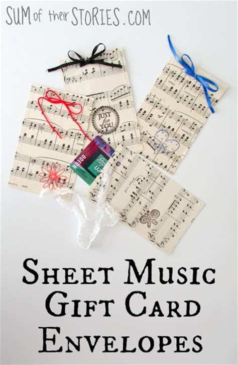 Music Gift Cards - sheet music gift card envelopes sum of their stories