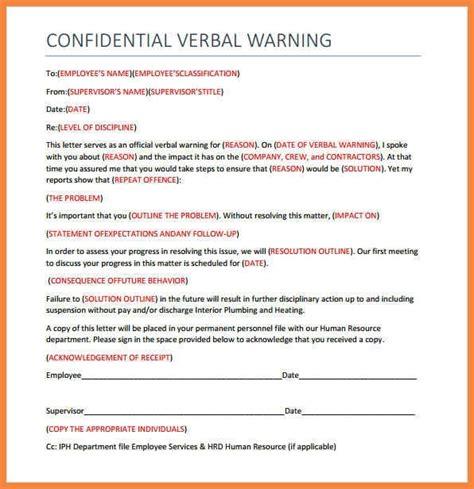 template of verbal warning written verbal warning sle letters free sle letters